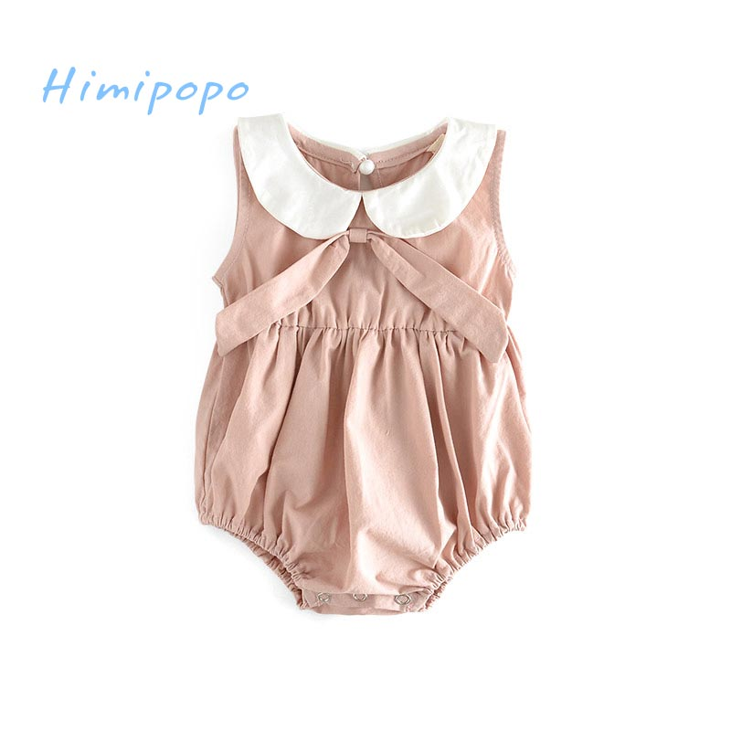 HIMIPOPO Cute Bow Baby Girl Bodysuit Summer Girls Roupas Bebes Ropa Newborn Baby Clothes Jumpsuits Infant