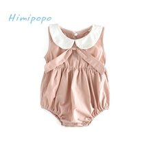 HIMIPOPO Cute Bow Baby Girl Bodysuit Summer Girls Roupas Bebes Ropa Newborn Baby Clothes Jumpsuits Infant Girls Clothing