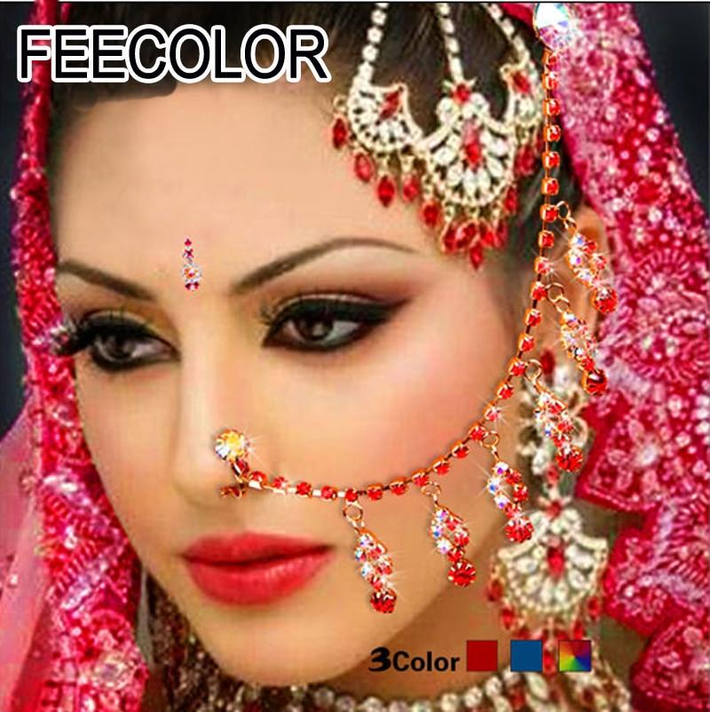 indiska smycken Indian Nose Chain klipp Belly Dance kostym Smycken colurful crystal Kvinnor Stage Body Chain Cosplay-tillbehör