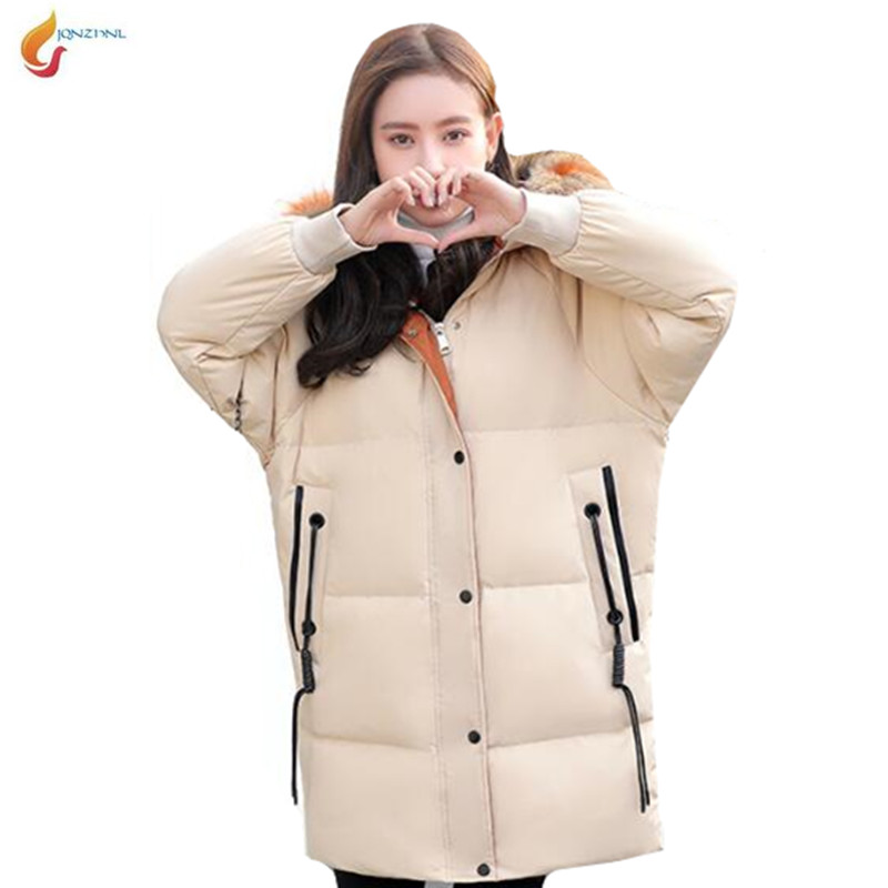 winter New down jacket coat Big fur collar hooded medium long thick down cotton padded pike coat women loose fashion jacket G698