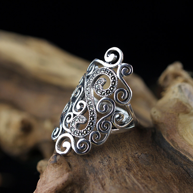 L P Hot Sale 100 Real 925 Sterling Silver Vintage Rings for Women Handmade Hollow Cloulds