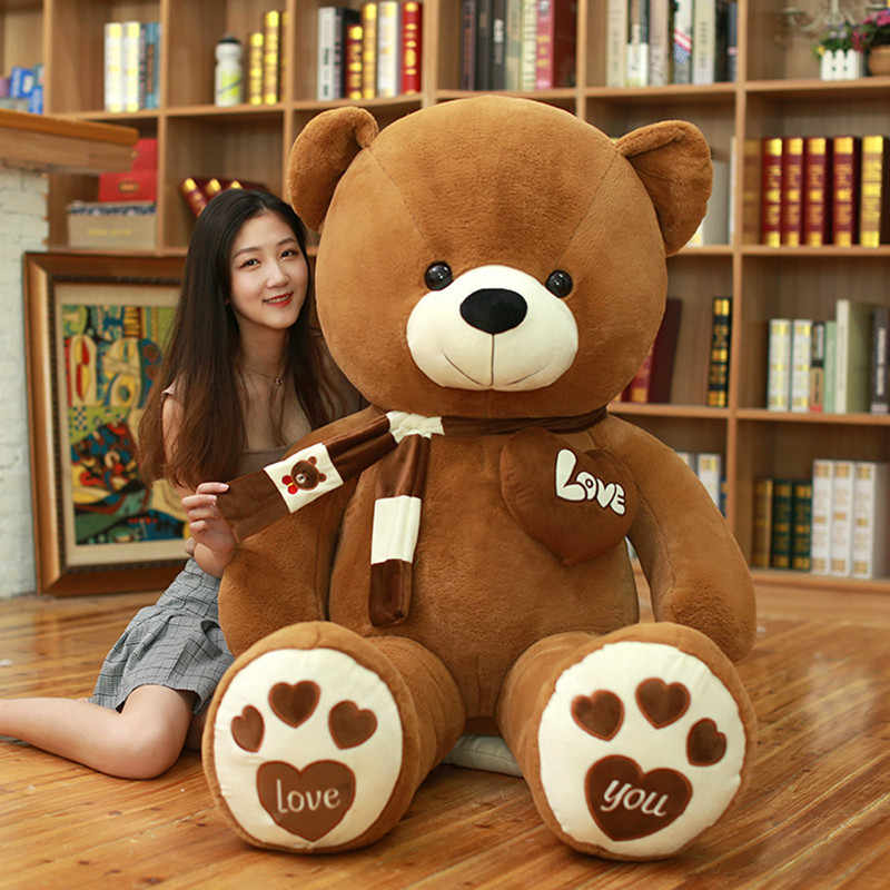 Hot High Quality 100CM 4 Colors Teddy Bear With Scarf Stuffed Animals Bear Plush Toys Teddy Bear Doll Lovers Birthday Baby Gift