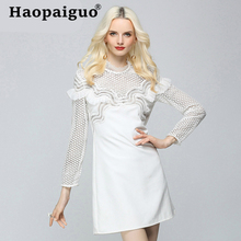 White Elegant Evening Party Dress Women Lace Patchwork Corset Mini Wrap Europe Style Vestido De Verano 2019 Sukienki