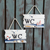 Wooden Door Sign Nautical Decor WC Toilet Signs Wall Boat Ship Beach Hanging Ornament Plaques Signs