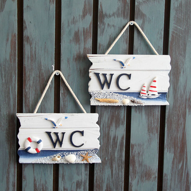 Wooden Door Sign Nautical Decor WC Toilet Signs Wall Boat Ship Beach ...