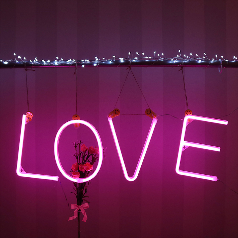 Night Light Neon Alphabet Lamp 26 Letters  LED  For Birthday Wedding Party Bedroom Wall Hanging Decor Light Night