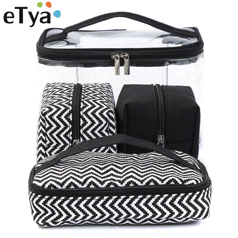 ETya Men Women Transparent Cosmetic Bag Travel Portable Multifunctional Makeup Wash Bag Clear PVC Storage Handbag Canvas Bag Box