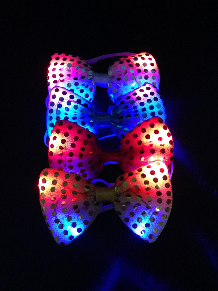 5pcs lot Led Luminous Neck Tie Mixcolor Flashing Male Female Fashion Bow Tie Party wedding Dancing Stage Glowing Tie in Glow Party Supplies from Home Garden