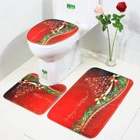 3pcs/set Non Slip Toilet Foot Pad Seat Cover Cap Fancy Santa Toilet Seat Cover Rug Bathroom Set Christmas Decorations For Gift