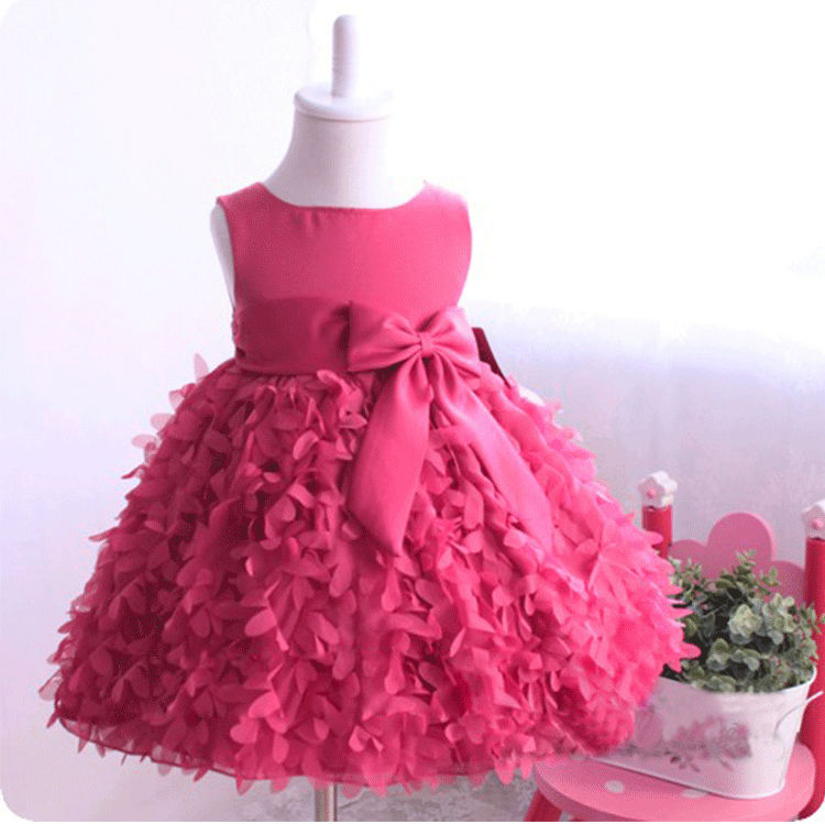 2016 New Flower Girls Princess Bow Dress Toddler Baby Wedding Party Pageant Chiffon Dress