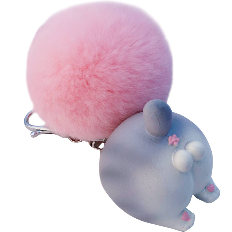 Cartoon Animal Ass Keychain Pompom Fur Key chain ring on The Bag Cute Sound Fluffy Faux Pompon Keyring Pendant Accessories in Key Chains from Jewelry Accessories