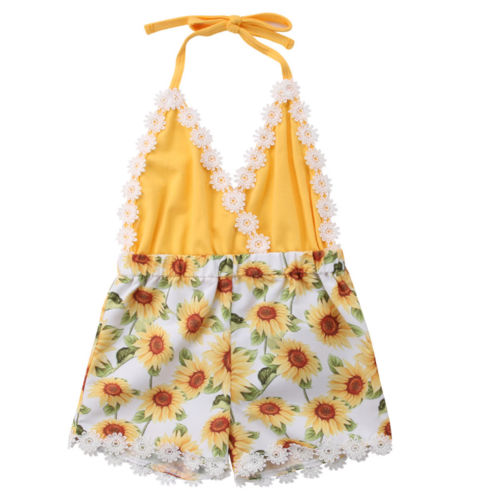 Newborn Baby Girls Lace Sunflower   Romper   Patchwork Jumpsuit Outfits Clothes
