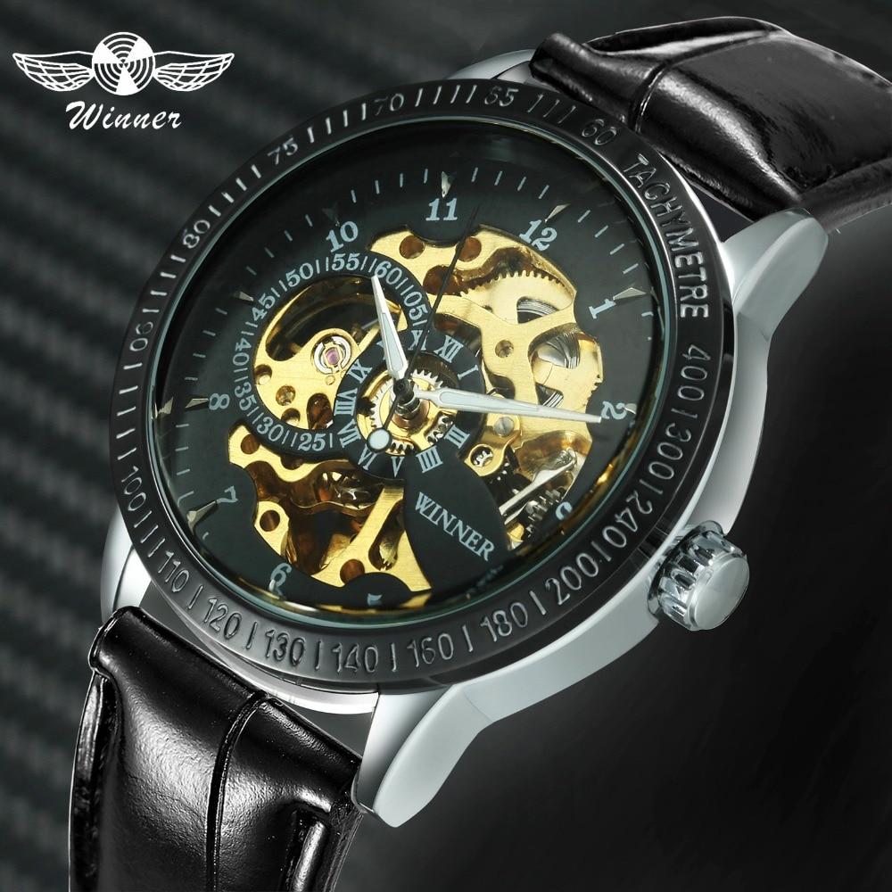 Aggressiv 2018 Gewinner Männer Casual Mechanische Uhr Lederband Sub Zifferblatt Römische Zahl Skeleton Bewegung Schwarz Zifferblatt Design + Geschenk Box
