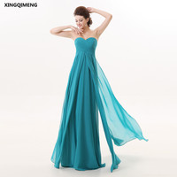 Turquoise Chiffon Beach Bridesmaid Dresses Cheap Simple Pleat Bridesmaid Dress Long Formal Party Gowns Chic Women Gown