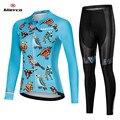 Feminino conjunto de roupas de bicicleta reflexivo manga longa das mulheres camisa ciclismo mtb bicicleta equitação terno blike roupas menina esporte wear