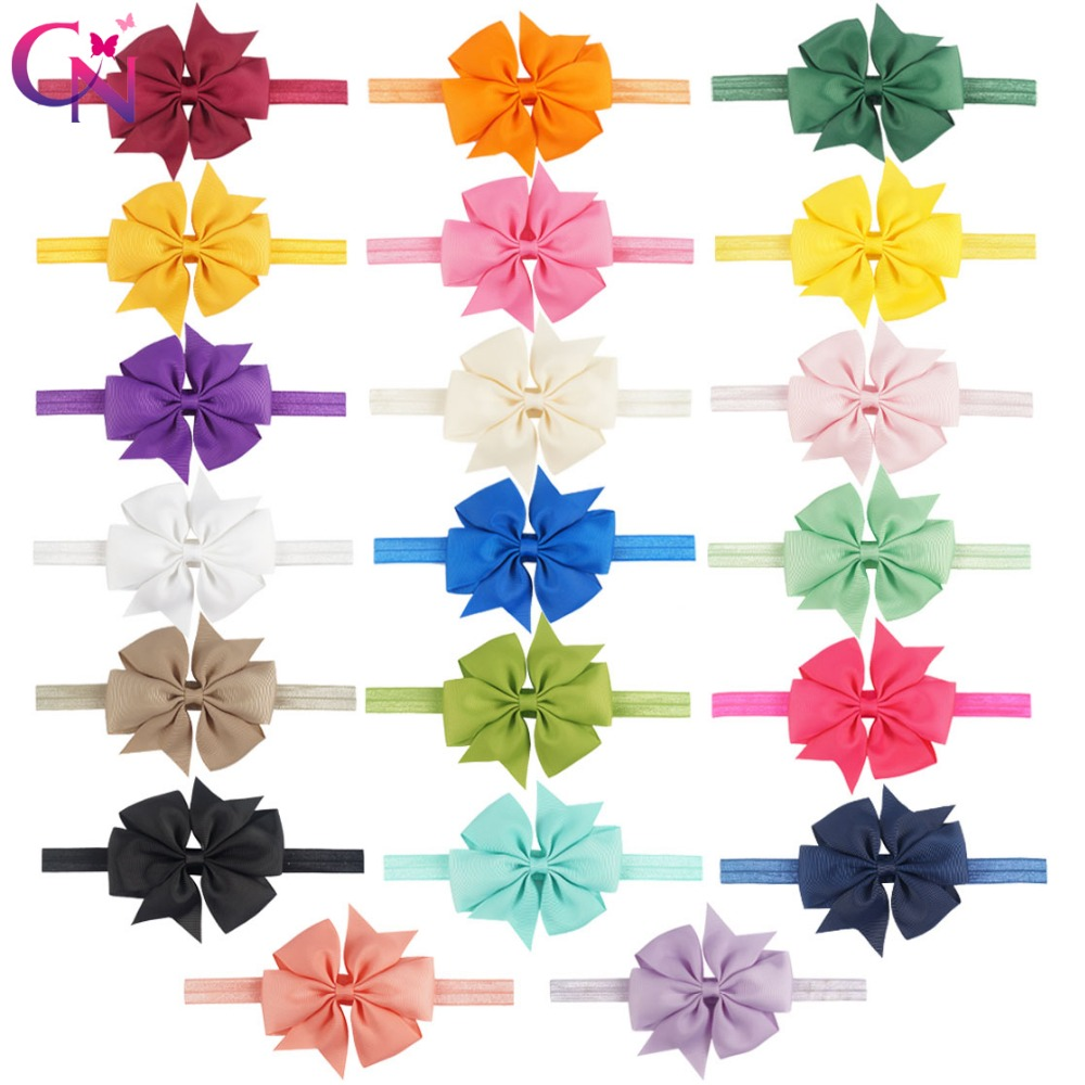 20 Pieces/lot 4 Pinwheel Bow Headband For Kids Girls Handmade Plain Grossgrain Ribbon Hair Bows Hairband Hair Accessories handmade new solid maple wood brown acoustic violin violino 4 4 electric violin case bow included
