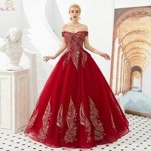 Цвет красного вина новые Бальные платья с открытыми плечами бальное платье с аппликацией в виде официальная Вечеринка Длинные платья для выпускного бала для девочек, vestidos de fiesta, de noche
