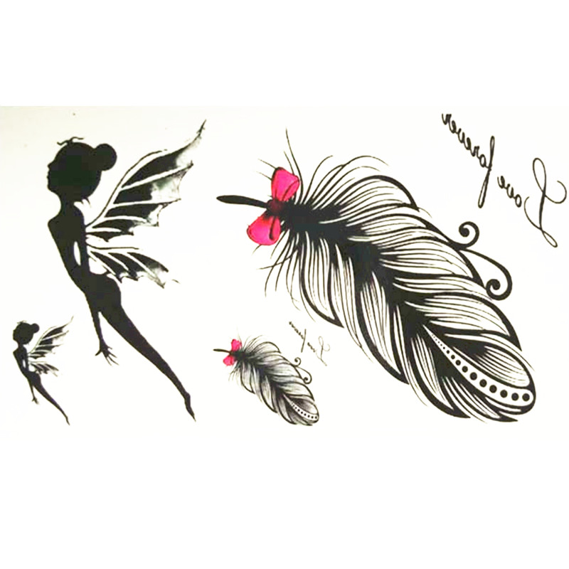 10x6cm Temporary Small Cute Fashion Tattoo Girl Waving Wings and Feather jam tangan pria gold original