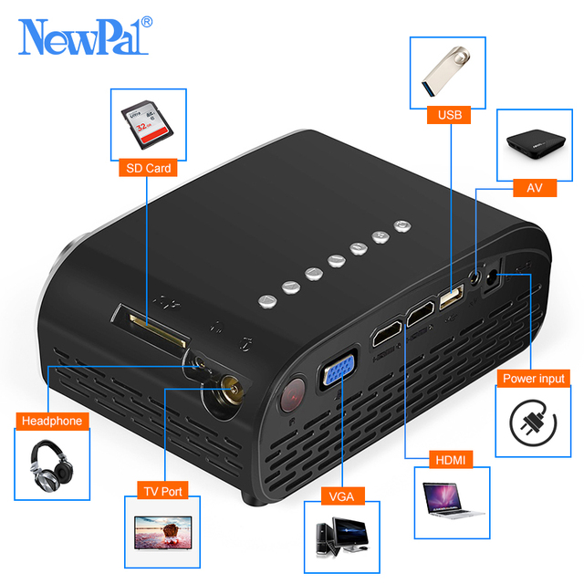 Newpal LED Projector GP802A Home Beamer for Kids 1920*1080P HD Mini Projector Support SD HDMI USB with TV Tuner 4