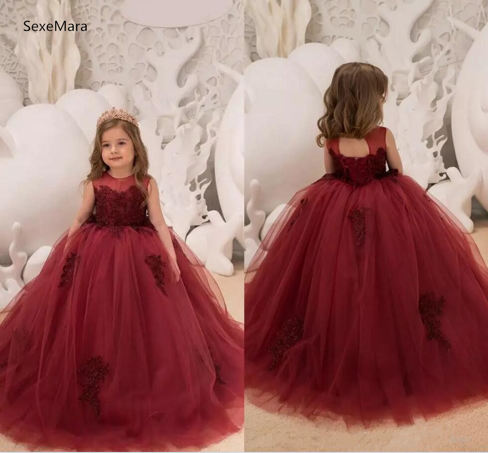 2018 Burgundy Ball Gown Tulle Flower Girls Dresses Jewel Neck Sleeveless Lace Appliqued Corset Back Custom Made Color stylish jewel neck sleeveless print spliced women s sundress