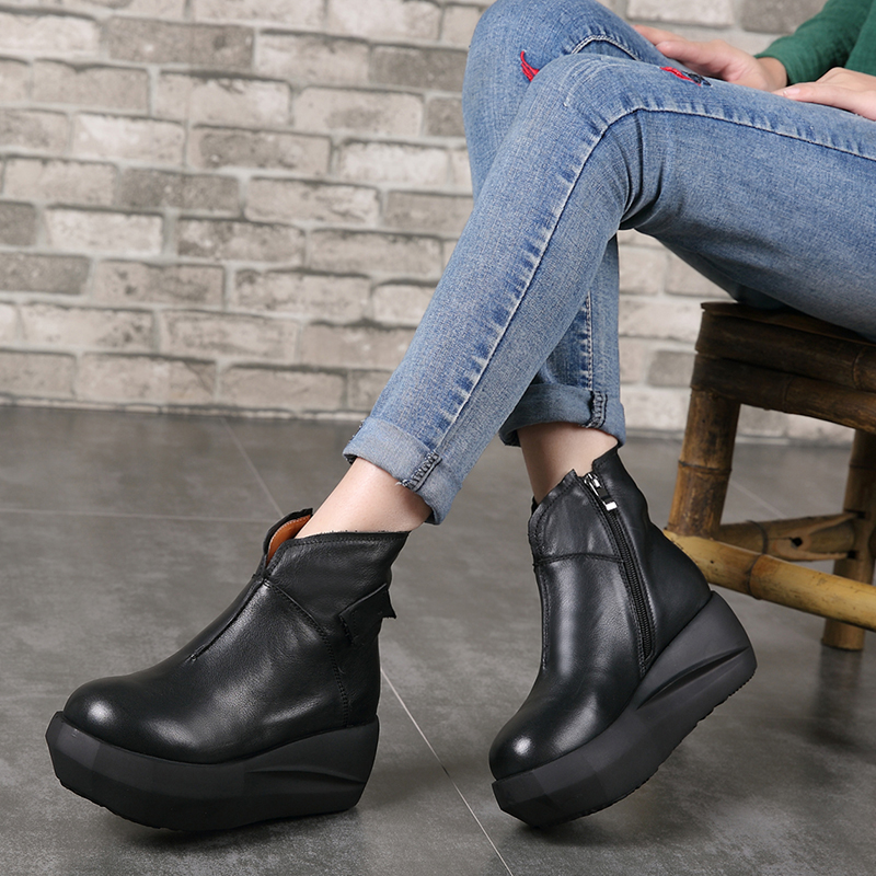 2018 VALLU Autumn Women Shoes Ankle Boots Flat Platform Round Toes Handmade Original Genuine Leather Ladies