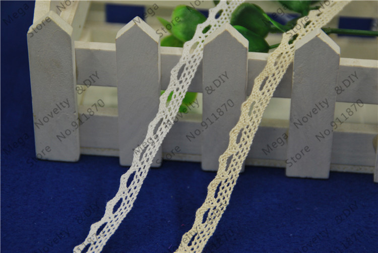 FASMILEY Wholesale 12mm Cotton Lace Trim Ivory White Net Lace Ribbon DIY Lace Fabric Trimmings Lace