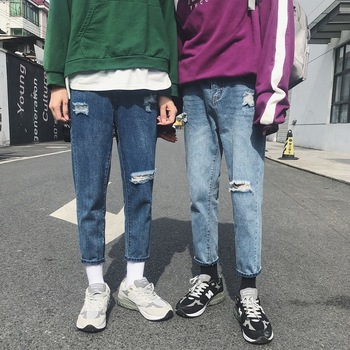 Fashion Casual Mens Jeans Spring And Autumn New 26-31 Hole Embroidery Loose Pants Dark Blue PersonalityYouth Popular