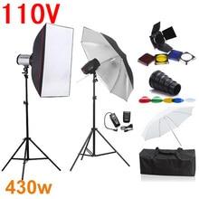 Kits de Iluminação de Estúdio de fotografia Suave Caixa De Flash 430ws 110 V Godox Flash + Softbox + Snoot Barndoor + Suporte + guarda-chuva + Gatilho Receber Conjunto