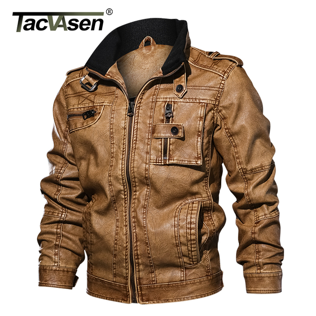TACVASEN Men Tactical PU Leather Jacket Winter Military Bomber Jacket Slim  Casual Jacket Autumn Motorcycle Windbreaker Clothing 0264b7c665b