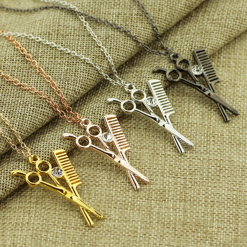 4 Combs Scissors Necklaces   Pendants Rose Gold Scissors jewelry  Cosmetologist hair Dresser Rhinestone Necklace Hairdresser Gift-in Pendant  Necklaces from ... 075ede78d6d6