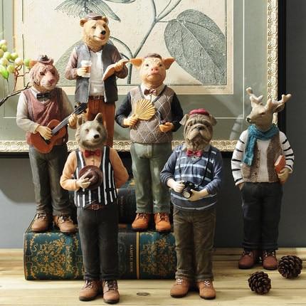Statues de figurines d'animaux vintage faites à la main tête d'animal drôle ornements de corps humain décorations de maison créatives artisanat décoratif