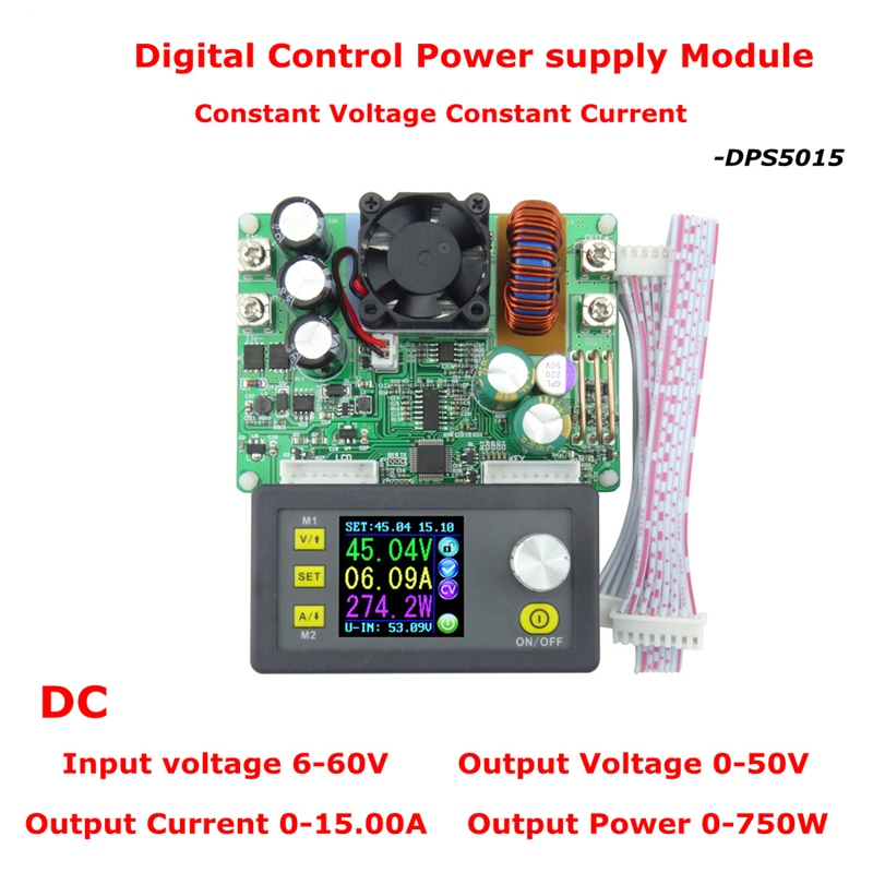 DPS5015 LCD Constant Voltmeter 50V 15A Current Voltage tester Step-down Programmable Power Supply module Regulator ConverterDPS5015 LCD Constant Voltmeter 50V 15A Current Voltage tester Step-down Programmable Power Supply module Regulator Converter