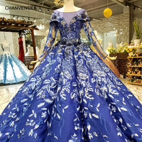 LS148865 royal blue ball gown evening dress long tulle sleeves o neck flowers floor length women occasion dress china wholesale
