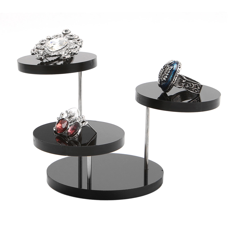 NEW Jewelry Display Stand Acrylic Necklace Bracelet Earring Round Tray Rack Case