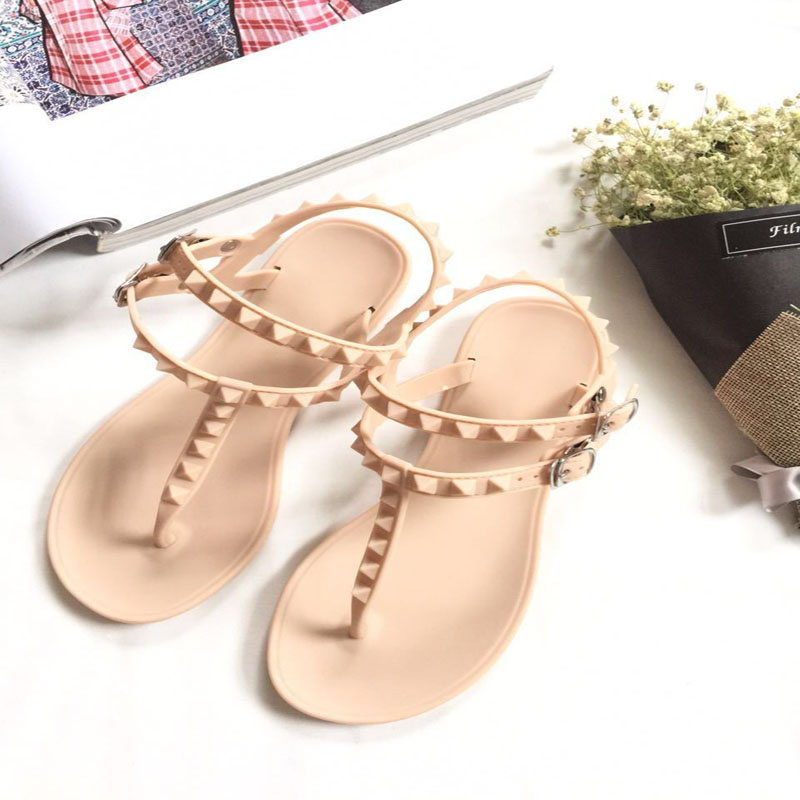 2017 Fashion Women Sandals Flat Summer Shoes Buckle Strap Casual Beach shoes Slipper Joker Rivet Contracted men beach slipper fashion summer sandals casual shoes toe solid plastic fishermen comfortable water play shoes mc302