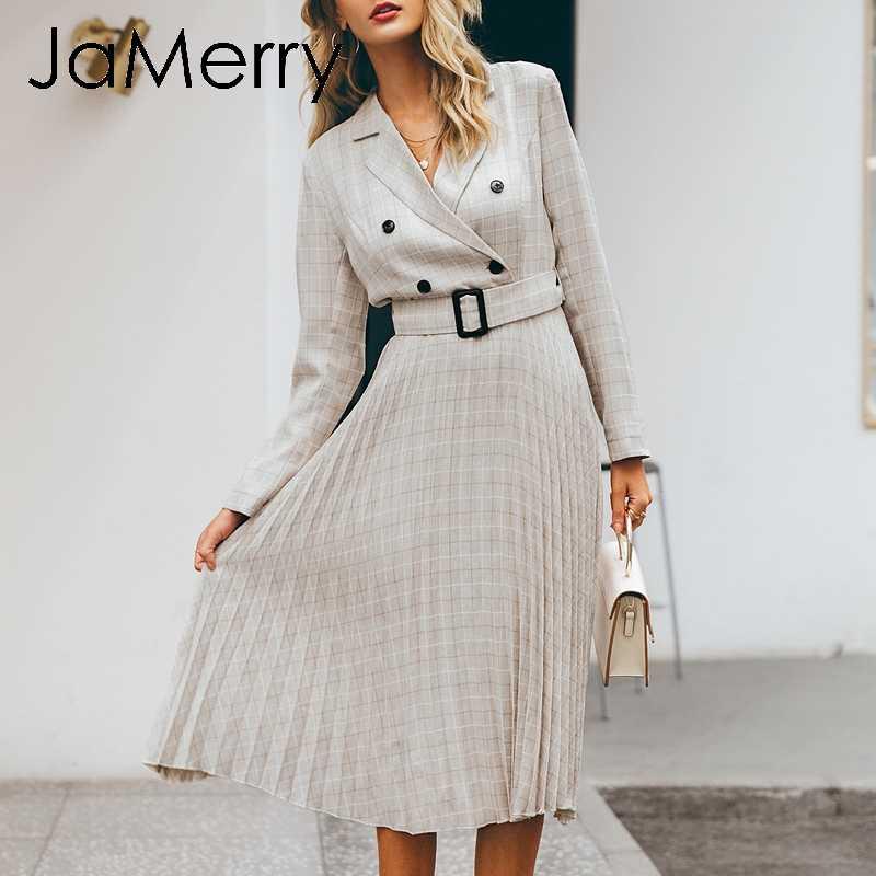 JaMerry w stylu Vintage w kratę, z guzikami pas kobiety sukienka elegancka marynarka plisowana spódnica urząd lady sukienka z długim rękawem worek wear party dress