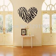 Zebra Print Stripe Heart Wall Sticker Decal Mural Art Vinyl Lettering  Saying Wall Decors For Home Room Fashion Poster