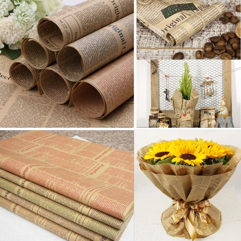 5pcs Vintage Newspaper Wrapping Double Sided Kraft Paper Wrap Gift 74x52cm Decor Gift Boxes Bags