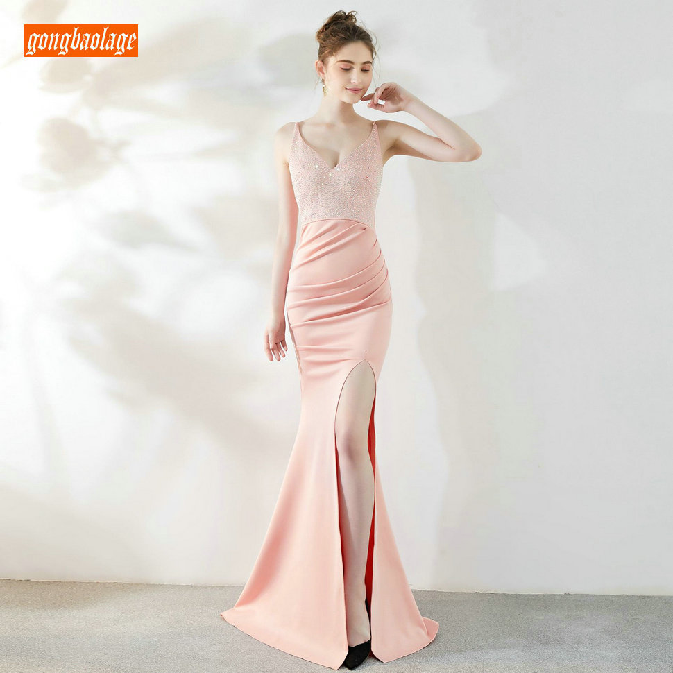 Actual Images Sexy Pink Prom Dresses Long 2019 Mermaid Prom Dress V Neck Stretch Size Fabric