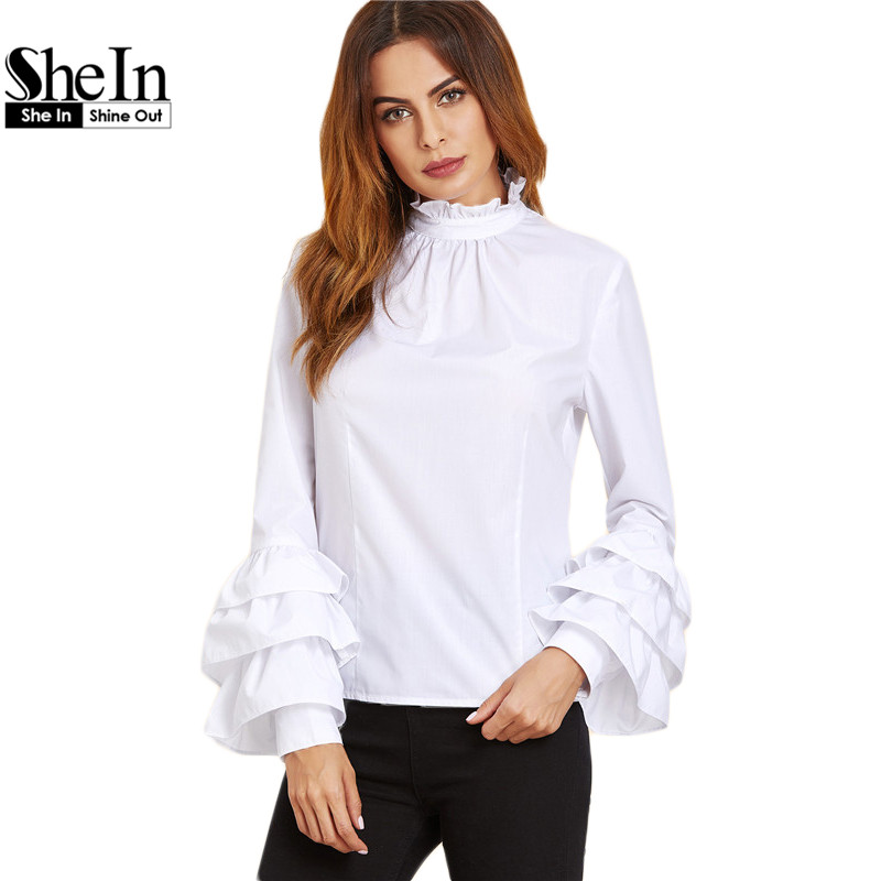 SheIn Korean Fashion Clothing Womens Tops and Blouses White Ruffle Collar High Neck Long Sleeve Layered Sleeve Top