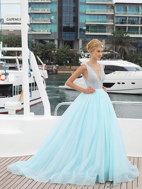 2017 Y Deep V Neck Ice Blue Wedding Dresses Tulle Brush Train Backless Spring And