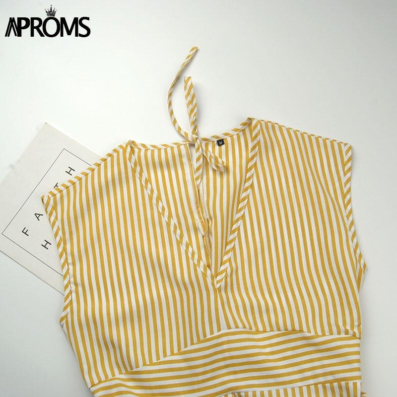 Aproms Vintage Stripe Print Midi Dress Women Elegant Deep V Sash Tie Up Bodycon Dresses Female Summer Streetwear Sundresses 19 15