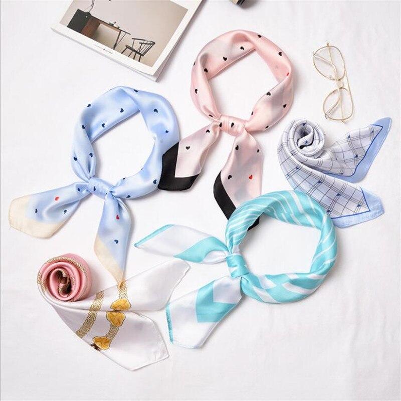 2019 New Women   Scarf   Silk   Wrap   Elegant Heart Floral Print Dot Patchwork Head Neck Hair Tie Band Neckerchief Square   Scarves