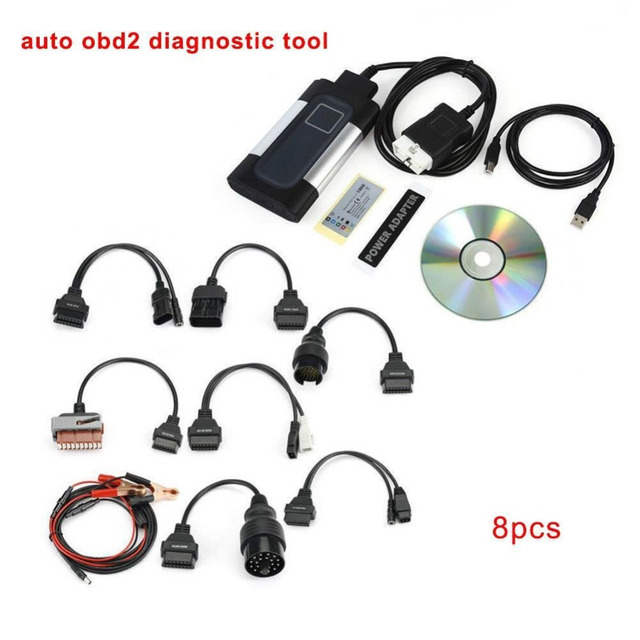 Best Price Car Bluetooth TCS CDP Pro Plus for autocom OBD2 Diagnostic Tool + 8PCS Car Diagnostic Cables Set