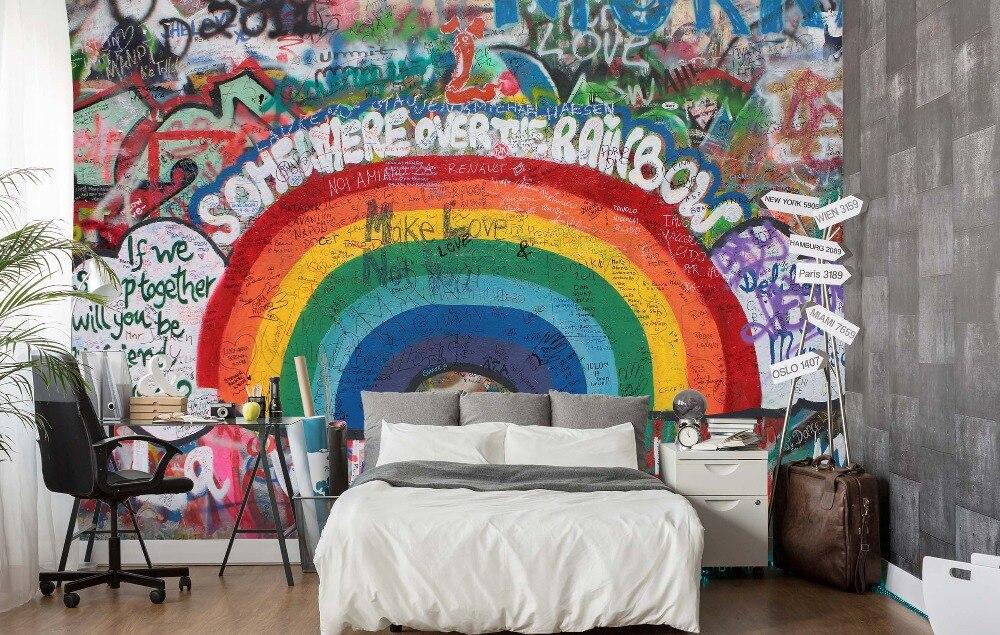 [Self-Adhesive] 3D Rainbow Clouds Graffiti Wall 77 Wall Paper Mural Wall Print Decal Wall Murals