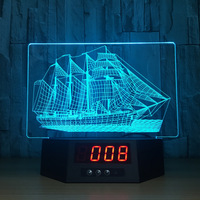 Creative Sailing Acrylic 3D Night Light LED Calendar Desk Table Lamp 7 Color Change Coffee Bar Home Decoration For Friend Gift