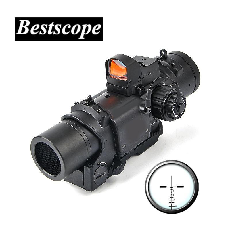 Tactical 1x-4x Fixed Dual Purpose Scope With Mini Red Dot Scope Red Dot Sight for Rifle Hunting Shooting tactical 4x32 rifle scope and 1x red dot sight scope for picatinny rail fir ar 15 ak 47 hunting shooting