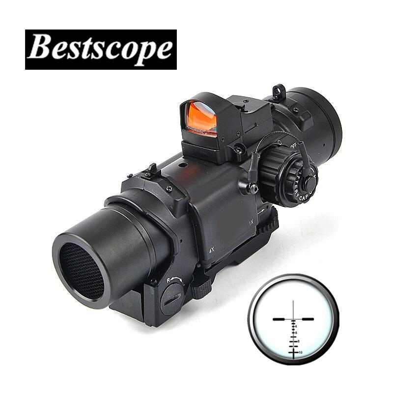 Tactique 1x-4x Fixe Double Portée D'usage Avec Mini Point Rouge Portée viseur point rouge pour Fusil de Chasse de Tir