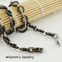 54cm 11mm Stainless Steel Necklace Chain For Men S Women S Black Silver Color Party Gifts