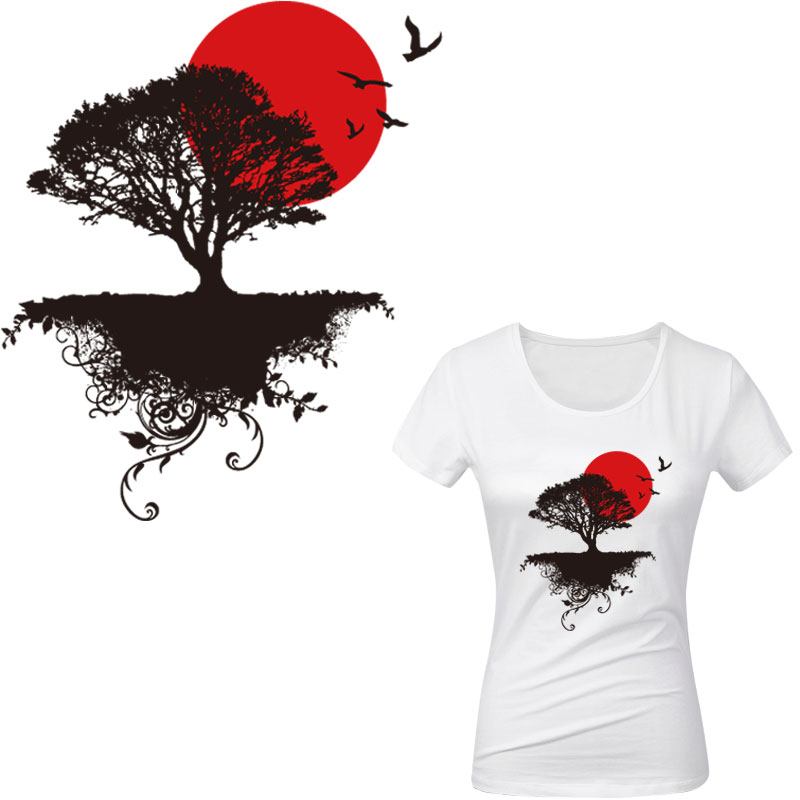 Tree Patches T-shirt Press Heat Transfer Sticker Washable Iron On Appliques DIY
